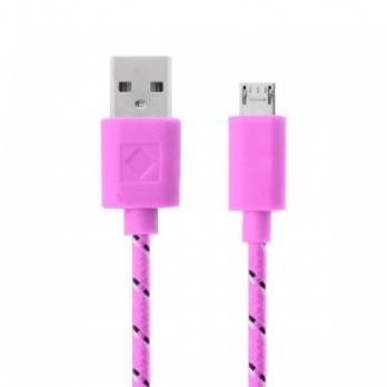 Nylon micro USB kabel 3 meter roze